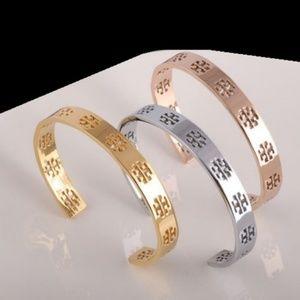NEW Gold Tory Burch Signature T Logo Cuff Bracelet